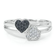 1/10ct TW Double Heart Diamond Ring  available at #HelzbergDiamonds