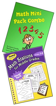 Math Stations Mini Pack Combo from Laura Candler (Grades 3 - 6)  Save $ when you buy Math Stations for Middle Grades and Math Mini Pack Combo together. Includes over a dozen Math Mini Packs with games and activities to use in math centers.