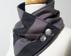 Upcycled Gray and Pinstripe Neck Warmer Scarf Snood with Silver Crest Buttons