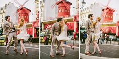 Photographs of a couple eloping in Paris at the Moulin Rouge windmill burlesque show by Paris wedding photographer Stacy Reeves