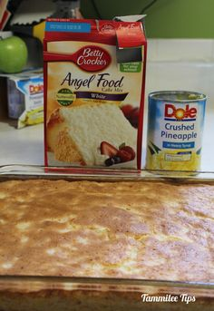 Pineapple Angel Food Cake Recipe. Mom would love this. This looks so easy. Only 2 ingredients,