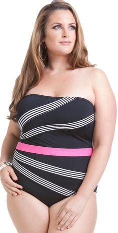 e545d0d4116 The #Anne Cole Mini #Stripe Color Block #PlusSize bathing suit has  flattering design