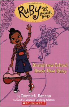 Ruby and the Booker Boys #1: Eight-year-old Ruby Booker is the baby sis of Marcellus (11), Roosevelt (10), and Tyner (9), the most popular boys on Chill Brook Ave. When Ruby isn't hanging with her friend, Theresa Petticoat, she's finding out what kind of mischief her brothers are getting into. She's sweet and sassy and every bit as tough as her older siblings...