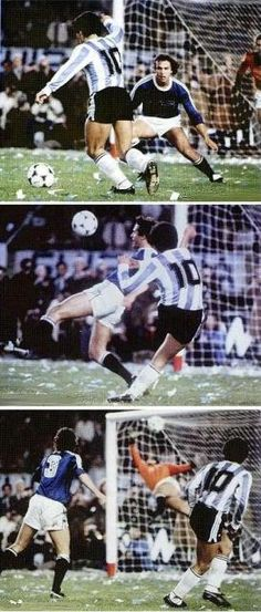 Argentina (1) - FIFA XI (2) Maradona eludes Cabrini to curl the ball past Leao, scoring Argentina's only goal of the match.