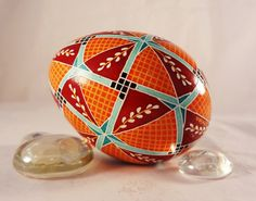 Turkey Pysanky Egg, Pysanka, 40 Triangles with Pussy Willow in Aqua, Teal, Orange and Red, BOLD colors. $27.00, via Etsy.