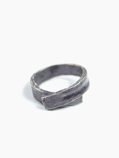 Wrap Ring - Oxidized sterling silver. A hefty beauty handcrafted from a strip of sterling silver, this ring is forged into shape making each piece unique, and then patinaed for an ancient industrial feel. $295 Macha nyc - unique custom jewelry; mens wedding and engagement rings. Men's fashion