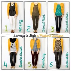 Tutor My Style: Six Ways to Style~ {A Mustard Cardigan}! - Tutor My Style: Six Ways to Style~ {A Mustard Cardigan}! Mustard Cardigan Outfit, Yellow Cardigan Outfits, Mustard Yellow Cardigan, Mustard Sweater, Brown Slacks, Casual Fall Outfits, Work Attire, Trendy Dresses, Cardigans For Women
