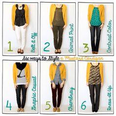 Six Ways to Style~ {A Mustard Cardigan}!