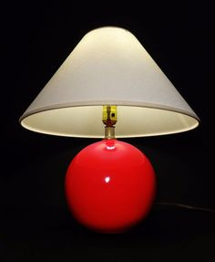 MODERNIST 'RED-HOT BALL' CRIMSON GLAZED CERAMIC TABLE LAMP W/ORIG SHADE MID-CENT | Collectibles, Lamps, Lighting, Lamps: Electric | eBay!