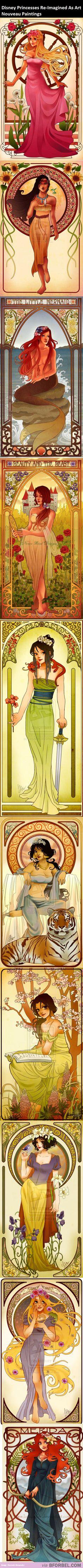 Disney Princesses Re-Imagined As Art Nouveau Paintings…
