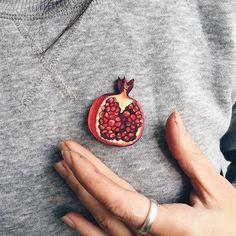 Pomegranate brooch pin