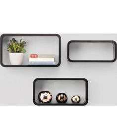 Buy Set of 3 Wall Mountable Wooden Storage Cube Shelves - Black at Argos.co.uk - Your Online Shop for Wall mounted shelves.