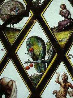 Detail from the Van Linge window at Lydiard House, Wiltshire. Parrot with cherries by Sophie F Cummings, via Flickr