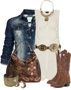 """""""Boots N' Lace"""" by stylesbyjoey ❤ liked on Polyvore {{super cute outfit for spring/summer country concert}}"""