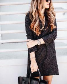 simple details // www.liketk.it/1Ug1a #sweaterdress #celine #fallfashion by theteacherdiva