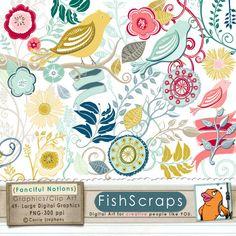 50 Sale  Bird & Flower Clip Art  Fanciful Notions  by FishScraps, $3.48