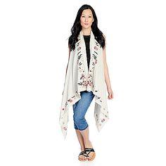 a28ab14fc74 726-943 - Indigo Thread Co.™ Knit Sleeveless Embroidered Cascade Front Vest  Indigo