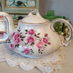 """Sweet Little China Fluted Teapot, Pink Flowers on White Background. Gilt Trim .  4.5""""/12cm Tall,  Holds 3 cups"""