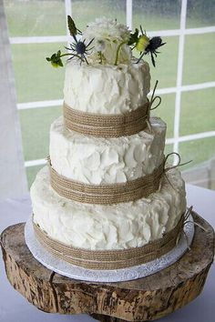 Rustic wedding cake simple yet beautiful  NO burlap or flowers and make it square