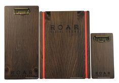 Roar - Menu Cover Collection - Stained solid pine clipboards and menu boards with custom rubber bands, laser engraved logo