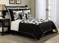 Black and White Floral Bedding