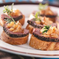 Pepper-Crusted Tenderloin Crostini by tasteofhome: Caramelized onions add a touch of sweetness to this elegant appetizer. Use the higher range of pepper if you like a little more zip. #Appetizer #Beef_Tenderloin