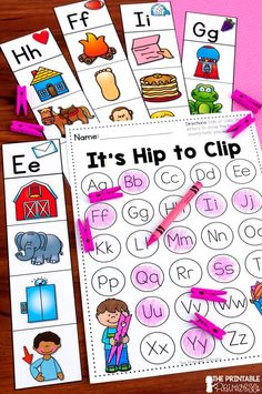 """This beginning sounds activity is easy to prep and easy for students to use. Students read the letter to identify the sound. They use a clothespin to """"clip"""" the pictures that have the matching beginning sound (great fine motor practice! There are 3 opti Teaching The Alphabet, Alphabet Activities, Sensory Activities, Reading Activities, Kindergarten Centers, Kindergarten Classroom, Superhero Teacher, First Grade Teachers, Beginning Sounds"""