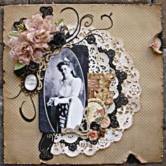 Circa 1890's ~ Beautifully feminine page with layered doilies, punched swirls and distressed edging. Love the little charm embellishment!