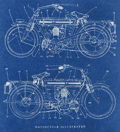 Motorcycle blueprint Art Print