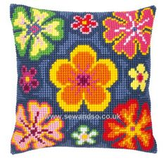 Buy+Flower+Power+Cushion+Front+Chunky+Cross+Stitch+Kit+Online+at+www.sewandso.co.uk
