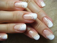 lace + diagonally french gel nails