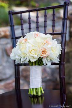 White rose wedding bouquet.  www.benandmolly.com