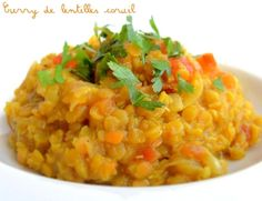 Curry de lentilles corail (Dahl) New Recipes, Vegan Recipes, Vegan Dishes, Vegan Vegetarian, Vegan Food, Healthy Food, Risotto, Good Food, Food And Drink