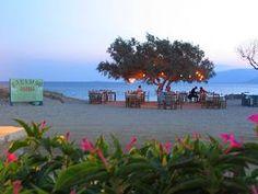 Love this place: Paradiso Taverna, Agia Anna beach, Naxos Island, Greece. Amazing food, served at tables under a fairy light lit tree, looking out to sea...