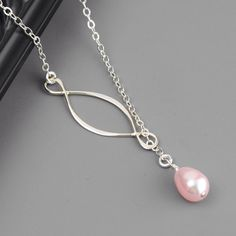 SET OF 3 Bridesmaid Necklaces - Pink Pearl Necklace - Sterling Silver Lariat - Infinity Necklace - Bridesmaid Gift - Wedding Jewelry by MyDistinctDesigns on Etsy https://www.etsy.com/listing/165230408/set-of-3-bridesmaid-necklaces-pink-pearl