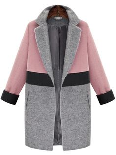 Pink Grey Lapel Pockets Woolen Coat