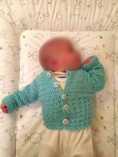 gehäkelte Babyjacke für 0-2 Monate