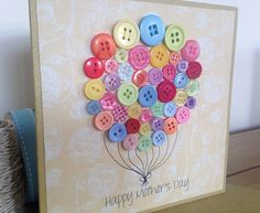 Mothers Day Card  Beautiful Button Balloon  by HandmadePeaCards