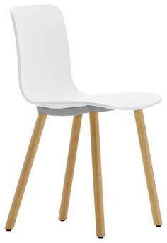 Vitra HAL Chair, White/Wood modern-dining-chairs