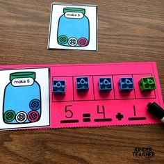 Decomposing numbers between 5 and 10 using hands-on, engaging games and activities. Students will practice decomposing a number in more than 1 way, finding the number that makes 10 and solve word problems. Kindergarten Math Activities, Numbers Kindergarten, Preschool Math, Kindergarten Christmas, Math 2, Counting Activities, Decomposing Numbers, Math Numbers, Teaching First Grade