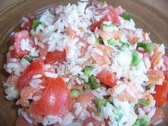 Recette Apéritif : Salade de riz froid au saumon fumé et petits légumes par Hélène Cuisine - La cuisine de Hélène