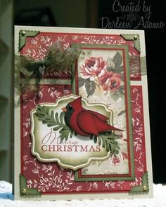 Cardinal by darleenstamps - Cards and Paper Crafts at Splitcoaststampers gold krylon pen on outside of nesties SU bird punch cardinal Homemade Christmas Cards, Christmas Cards To Make, Xmas Cards, Christmas Greetings, Handmade Christmas, Homemade Cards, Christmas Crafts, Holiday Cards, Stampin Up Christmas