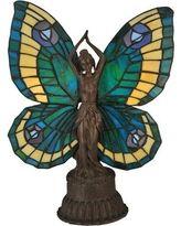 "Meyda Tiffany Butterfly Tiffany Art Glass Animals Lady 17"" H Table Lamp with Novelty Shade 48019"