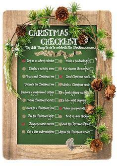 Free Christmas Checklist- top 20 things to do to celebrate the Christmas season.