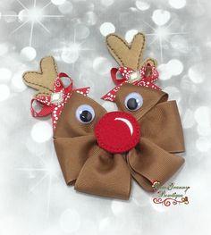 Reindeer Bow Reindeer Hair Bow Christmas Bow by BowGrannyBowtique Ribbon Art, Diy Ribbon, Ribbon Crafts, Ribbon Flower, Making Hair Bows, Diy Hair Bows, Bow Hair Clips, Christmas Hair Bows, Christmas Crafts