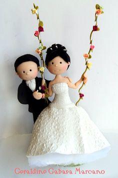GERALDINE GABASA. Wedding Cake Toppers, Wedding Cakes, Pasta Flexible, Wedding Accessories, Cake Decorating, Bride, Christmas Ornaments, Disney Princess, Holiday Decor
