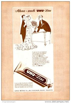 Werbung - Original-Werbung/ Anzeige 1957 - UHU - LINE / FISCHER - BÜHL / BADEN (CARTOON) - ca. 130 x 180 mm
