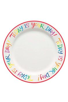 """Today is Your Day! This plate is for all of the happy days that call for celebration! A wedding, a graduation, a birthday, a new job or a job well done - any occasion you find worthy of celebrating the special people in your life. The box includes a permanent pen so the memories of those special moments had around the table can last a lifetime. Add sentiments to the plate for each occasion and reminisce over the special days you have celebrated before.    Measures 10.5""""   Special Day Plate…"""