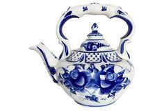 Cobalt Blue & White Floral Teapot