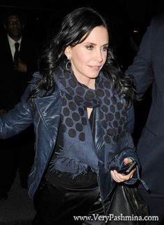 #CourteneyCox Wears Black And Blue #PolkaDotScarf At #Maialino